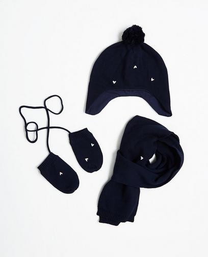 Dreiteiliges, nachtblaues Set